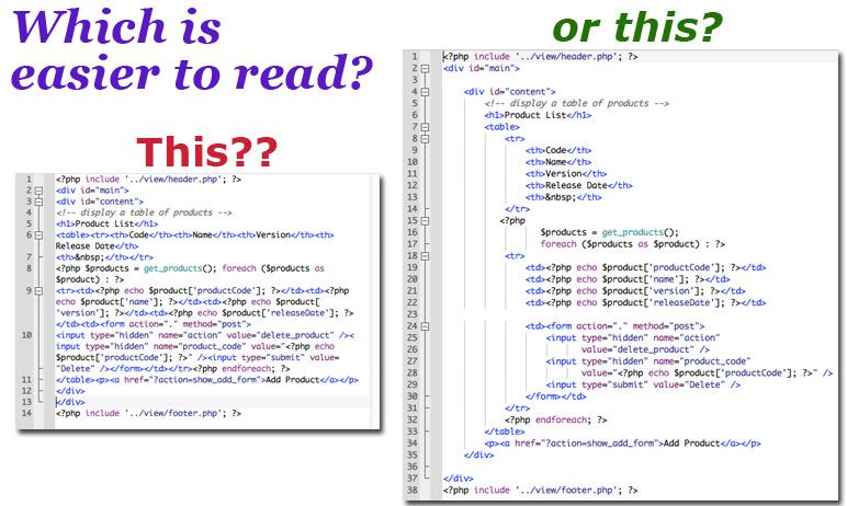 indenting code
