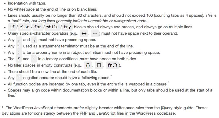 javascript spacing rules