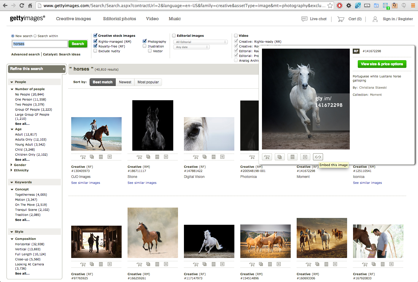 embed code for horse image