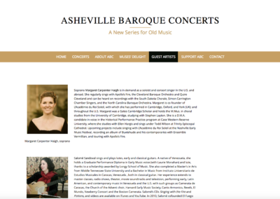 Asheville Baroque Concert Series Guest Artists