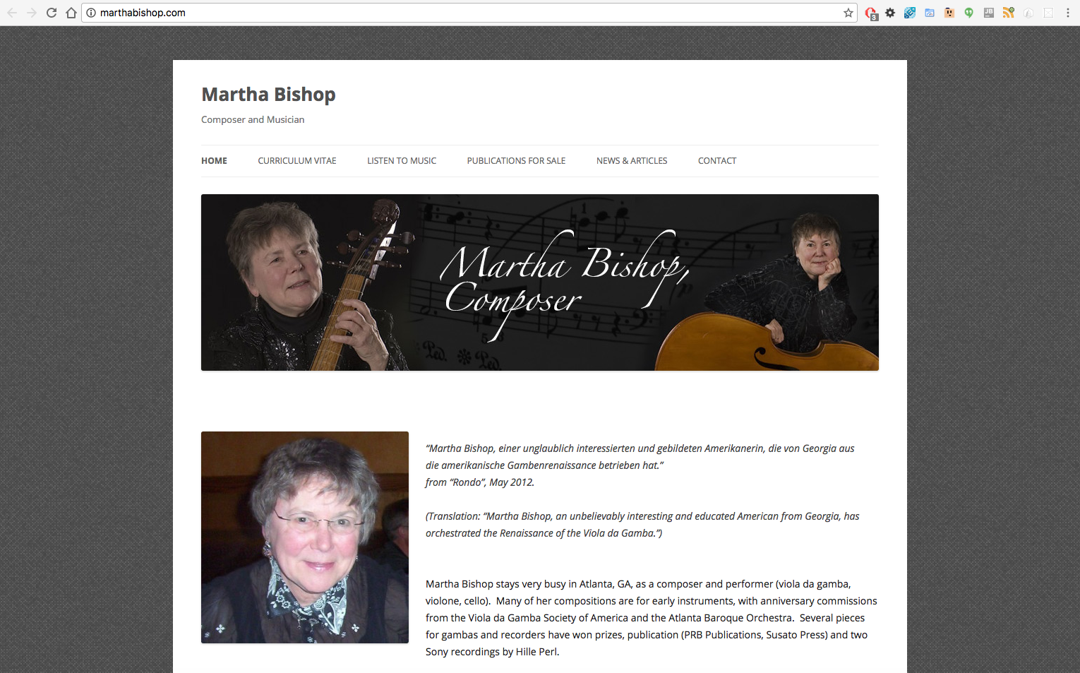 Martha Bishop desktop view