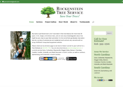 Joe Rockenstein Tree Service Home Page for Desktop
