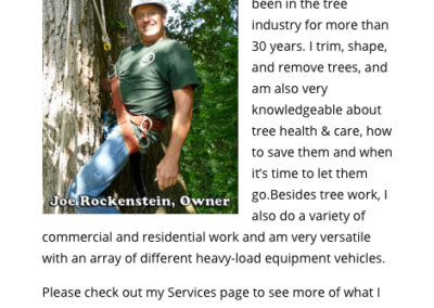 Joe Rockenstein Tree Service Mobile view
