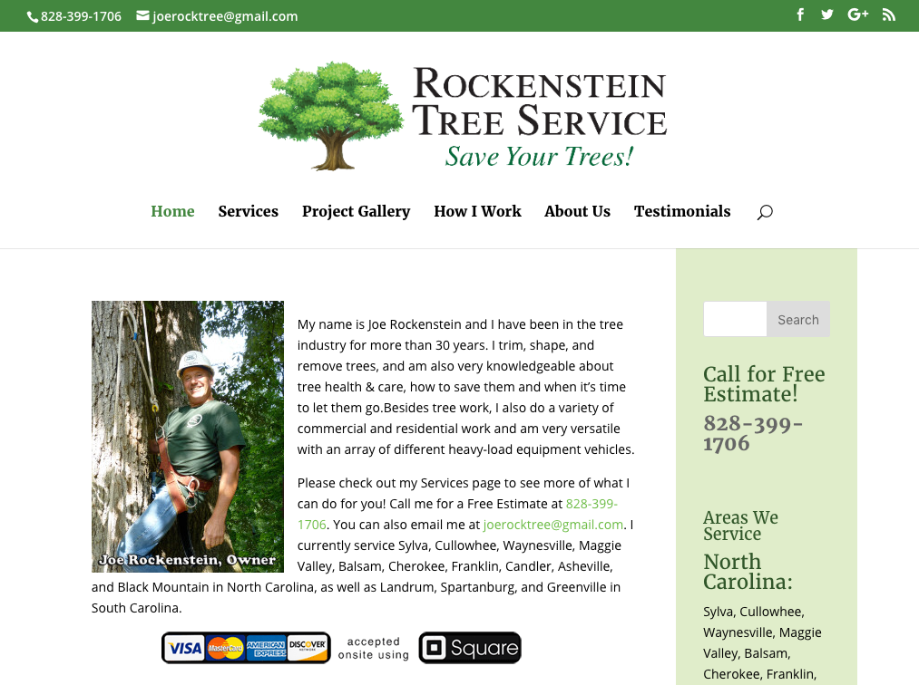 Joe Rockenstein's Tree Service Home page for desktop