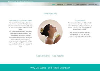 Temple Guardian home page middle desktop view